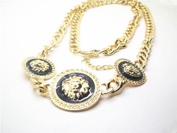 Min.order is $10(mix order)Free shipping!2013 fashion Gold lion Curb Chain waist  jewelry for women