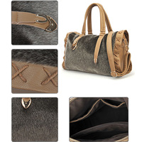 Winter 2013 Women verisimilitude mink hair PU fashion cylindrical women's handbags shoulder bag messenger bag Boston