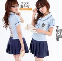 School uniform sexy female student clothing cosplay costume pure school wear mini skirt set free shipping