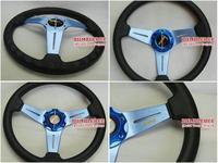 Free Shipping!! 350mm MOMO PU Steering Wheel ,Steering Wheel 14 inches Blue , KK278