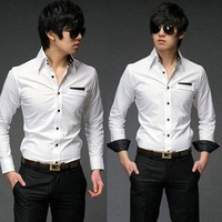 New Men Personalized Gentleman Pocket Black Buckle Long-sleeved Shirt