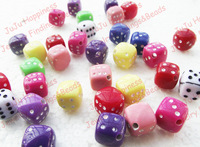 300pcs/lot Fashion DIY 8MM Square Mix Color Acrylic Dice Beads Free Shipping! nb108
