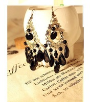Free shipping more than $15+gift fashion vintage national trend crystal black cutout drop tassel earrings hook alloy black nice