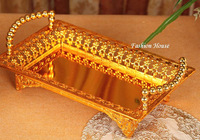 Free shipping gold plated metal tin alloys cutwork design decorative snack trays fruit tray / fruit plate