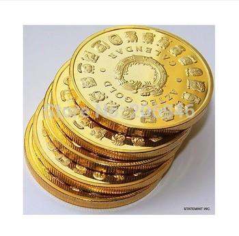 free shipping 20pcs/lot 1 OZ MINT MAYAN AZTEC GODS 24k .999 GOLD clad COIN PROPHECY CALENDAR 2012