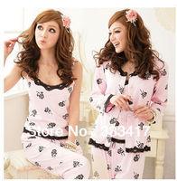 Sleepwear women's long-sleeve rose 3 pieces set sleepwear,warm sexy pajamas,lovely cotton nightwear [400029]