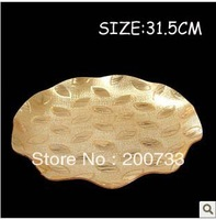 Free shipping 31.5CM acrylic round and shallow type fruit dishes, golden leaves storage trays  size: 31.5*31.5*3cm