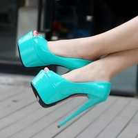 Summer New Woman Shoes Candy Color Japanned Leather 15cm Ultra High Heels Pumps Peep Toes Party Dress Stiletto Women's Sandals