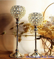 Romantic Crystal Candle Holder Crystal Single-head Silveriness Candle Lantern Stand for Wedding 2pcs/set