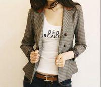 Fashion women's autumn patchwork PU slim shoulder pads plaid suit blazer double breasted Y19