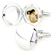 Fashion Men Jewelry Photo Frame Wedding Cufflink Round French Shirt Cuff links