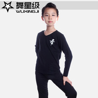Male Latin dance set child dance leotard clothes boy fitness set short-sleeve suit 8125