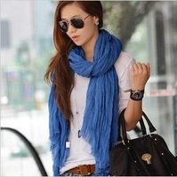 2013 autumn and winter solid color fluid all-match pleated female scarf Fashion Womens Girls Wraps WJ003