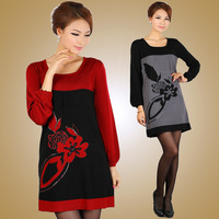 Missports.com 2013 spring flower paillette women's pattern sweater one-piece dress