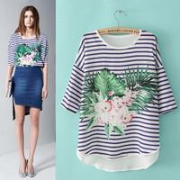 Fashion fashion stripe patchwork chiffon shirt personalized print flowers and fifth sleeve half sleeve basic shirt female Y51
