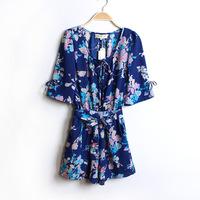 Women's vintage chiffon jumpsuit shorts jumpsuit slim waist print big flower Y58