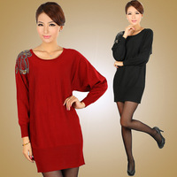 Missports.com 2013 spring batwing sleeve beading women's sweater one-piece dress
