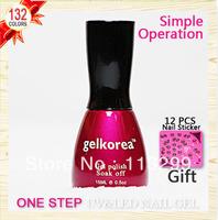 Free Shipping +One Step Nail Gel Polish Wholesale  Gelkorea 24Pcs Color Gel 15ml Soak Off Uv Led Sale(gift 12pcs nail sticker)