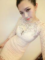 Free shipping 2013 autumn rhinestones lace dress sexy silhouette