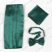 2015 Fashion New Design Men Green Cummerbund sets Male British Style Spring And Autumn Bow-tie Handkerchief And Cummerbund  Sets