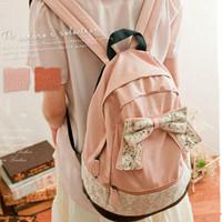 2014 Girls Vintage Canvas Cute Rucksack Satchel Travel Schoolbag Bookbag Backpack Bow