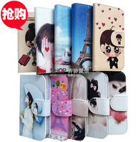 cartoon leather case cover for iphone4 5 Hot selling Korea 's cute  phone holster case for iphone 4 5 + free Screen protector