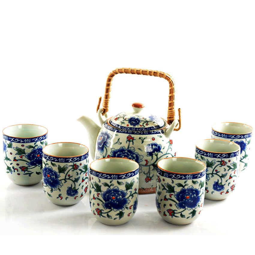 Tea set ceramics 7 big beam pot teapot teaberries set teapot japanese style