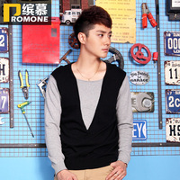 2013 autumn slim sweater thin outerwear male casual long-sleeve faux two piece sweater