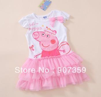 Peppa Pig Girl's Cartoon Dress Children TUTU Dress Cotton One-Piece Short Sleeve Skirt Pink Free Shiping 15pcs/lot