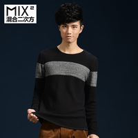 2013 male sweater men's clothing fashion o-neck line stripe sweater male basic m06 long-sleeve shirt