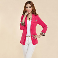 2013 autumn women's vintage candy color polka dot slim waist slim blazer