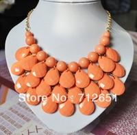 Free shipping 2013 New fashion Choke Colorful Resin Teardrop Necklace Set Bubble Bib Statement Necklace