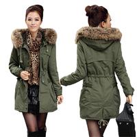 2014new winter women wool liner cotton wadded coat,fashion hooded coat fur parkas coats for women khaki Army green