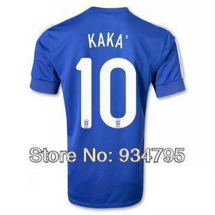 Top thai quality #10 Neymar 13-14 Brazil Brasil away blue football soccer Jersey Shirt KAKA, PELE, Ronaldinho, thiago silva