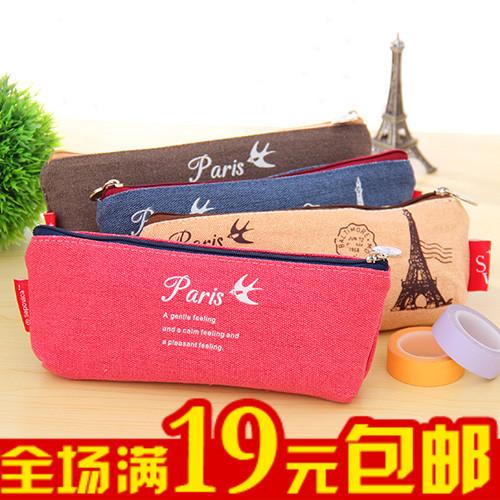 New arrival stationery box zipper pencil case vintage canvas large capacity female bag storage(China (Mainland))