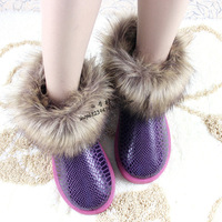 Autumn and winter snow woman boots cotton-padded shoes fox fur short boots women's winter boots for women winter