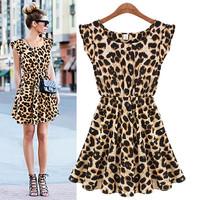 New Fashion Womens Slim Fit Crew Neck Leopard Short Sleeve High Waist Dress