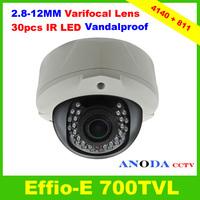CCTV Camera 700TVL Sony Effio-E 960H CCD Manual Zoom 2.8-12mm Lens Outdoor Vandalproof Dome Camera