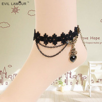 Fashion gothic vintage royal women's heart anklet banding anklebones handmade jewelry accessories