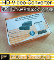 HD Video Converter with Audio for HDMI to VGA  Connector Adapter YZ-1806 Free shipping