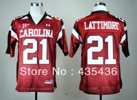 South Carolina Gamecocks #21 Marcus Lattimore Red Football Jerseys, Double stitch jerseys Free shipping mix order
