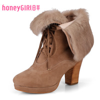 Honeygirl 2013 brief thick heel comfortable water rabbit fur boots hg13dx668133-8