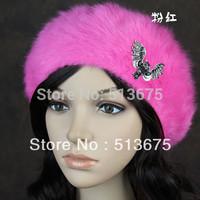 Free Shipping 2014 New Winter fashion Personalized Owl angora beret exquisite millinery Korean fashion warm winter ladies hat