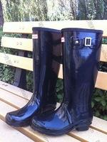 Men women Rain Shoes rain boots glossy bright side Red black green blue yellow gray pink