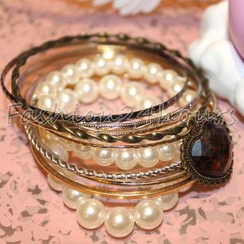 Wholesales 5pcs/lot European Retro Style Leopard Heart Pearl Bangle Bracelet For Women Jewelry