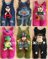 2013 Fashion babysuit kid boy/girl pants autumn/winter animal suspender trousers children jeans corduroy overalls Free shipping