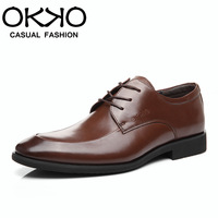 Okko autumn and winter formal business male leather genuine leather pointed toe fashion leather shoes male