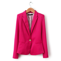 2013 European style brand casual women blazer tops candy color single breasted one button women jacket coat  free shipping