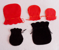 free shipping ! 500pcs red color  velvet Jewelry Gift Bags Pouches 7x9cm