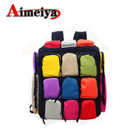 Personalized color block backpack female seven multicolour male Women student school bag double sided zipper bag sports